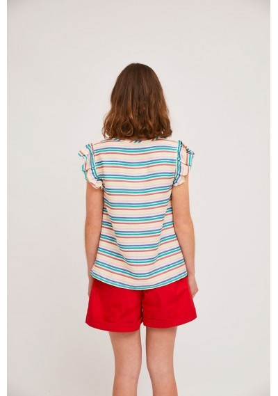 Top with armhole ruffles and multicolour stripe print -  Compañía Fantástica
