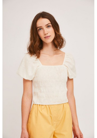 White cotton top with smocking