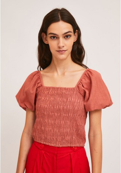 Pink cotton top with smocking