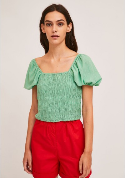 Green cotton top with smocking
