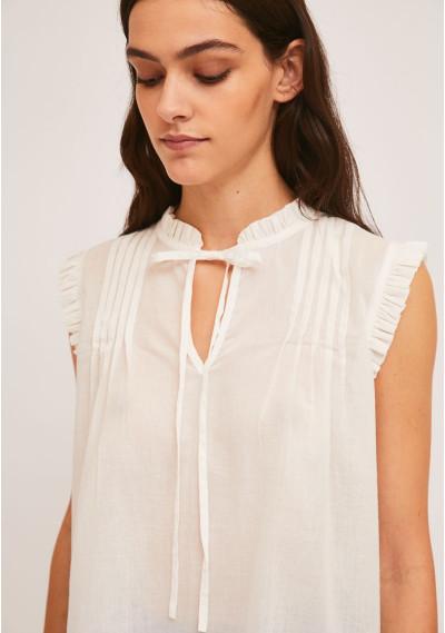 White cotton top with pleats and ruffles -  Compañía Fantástica
