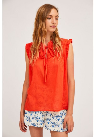 Red cotton top with pleats and ruffles -  Compañía Fantástica