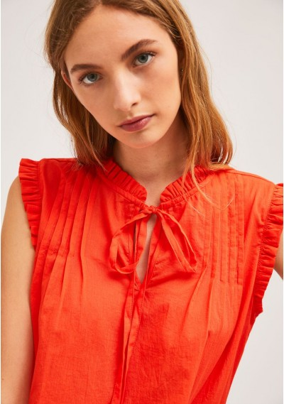 Red cotton top with pleats...