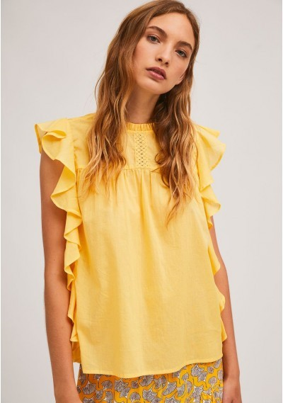 Yellow embroidered cotton...