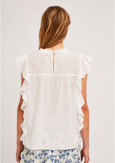 White embroidered cotton top with ruffles -  Compañía Fantástica
