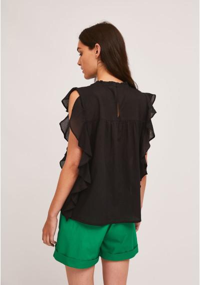 Black embroidered cotton top with ruffles -  Compañía Fantástica