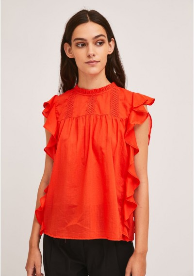 Red embroidered cotton top...