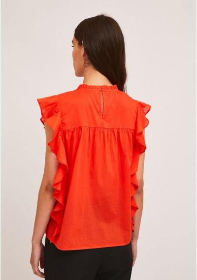 Red embroidered cotton top with ruffles -  Compañía Fantástica