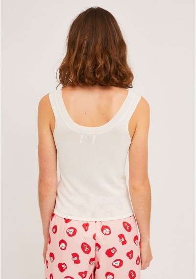 Loose knitted top in white with wide straps -  Compañía Fantástica