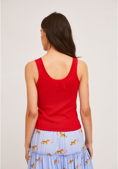 Loose knitted top in red with wide straps -  Compañía Fantástica