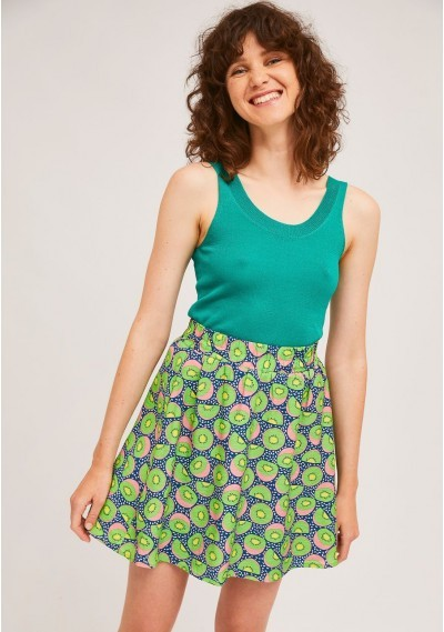 Loose knitted top in green with wide straps -  Compañía Fantástica