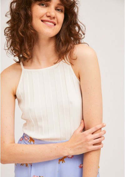 White rib stitch top with square neck -  Compañía Fantástica