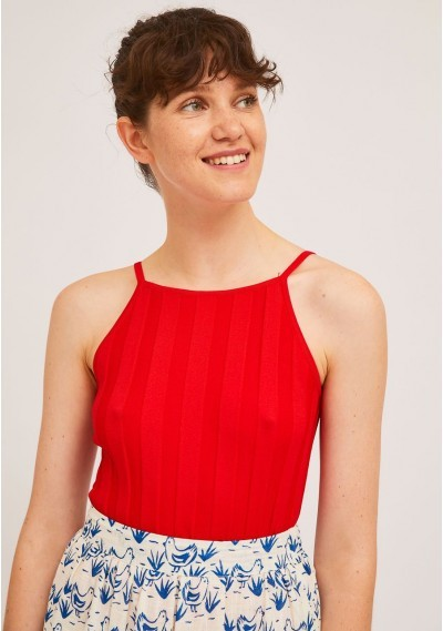 Red rib stitch top with...