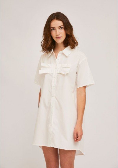 White shirt dress with bust...