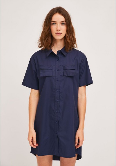 Navy shirt dress with bust bow