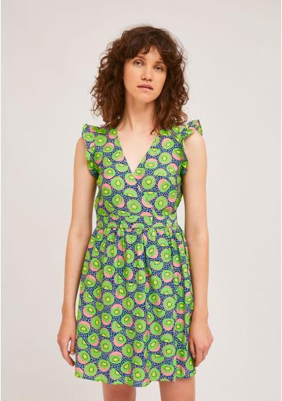 Short wrap dress with kiwi...