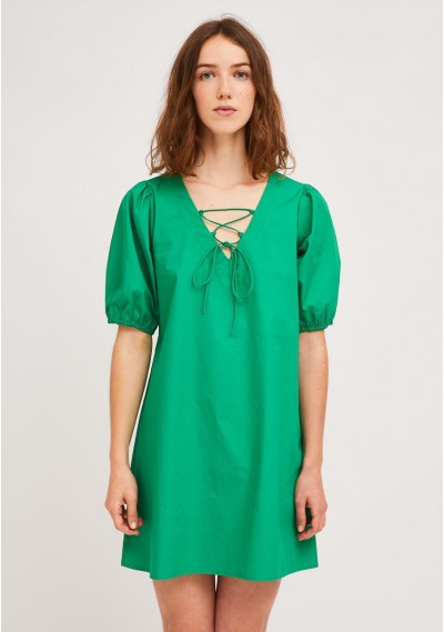 Green A-line dress with...