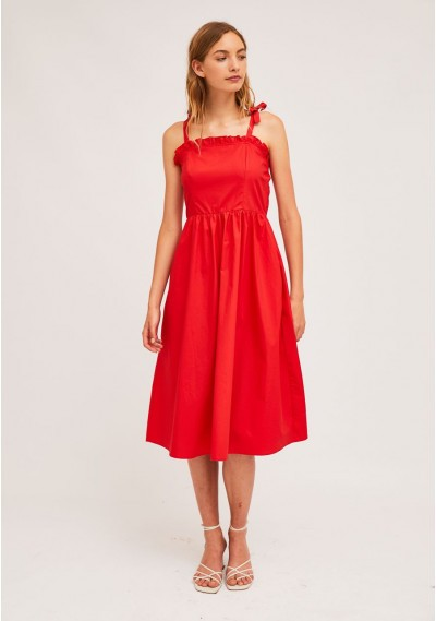 Red midi strap dress with...