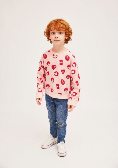 MINi   Cotton sweater with ribbed finish and monkey print -  Compañía Fantástica