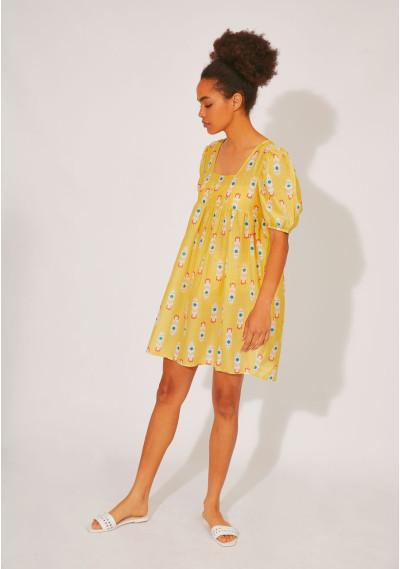 BEACHWEAR | Short dress with square neck and rocket print -  Compañía Fantástica