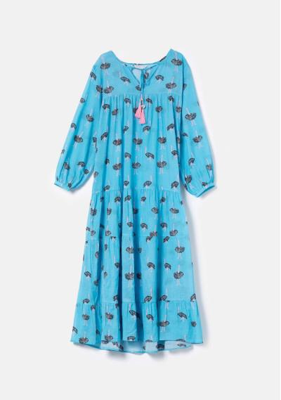 BEACHWEAR   Long dress with slit and ostrich print -  Compañía Fantástica
