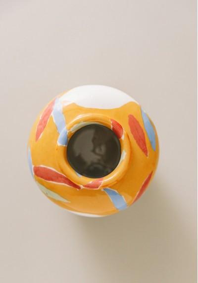 Bucket-size ceramic vase with fruit print -  Compañía Fantástica