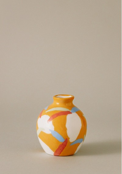 Apple-size ceramic vase with fruit print -  Compañía Fantástica