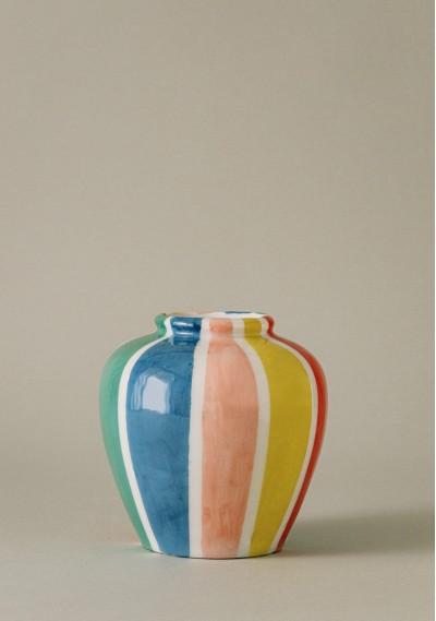 Bucket-size ceramic vase with colored stripes -  Compañía Fantástica
