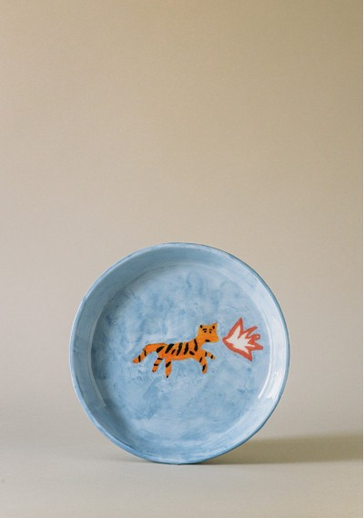 Breakfast ceramic plate with fire tiger print -  Compañía Fantástica