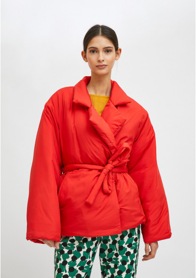 Red cropped padded coat...
