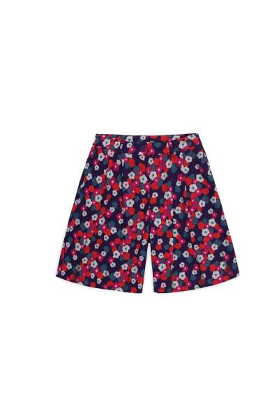 Floral print wide-leg Bermuda shorts with darts -  Compañía Fantástica