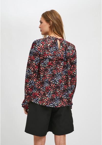 Floral daisy print smock blouse with ruffle detail -  Compañía Fantástica