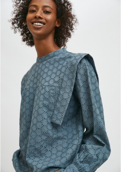 Grey broderie smock blouse...