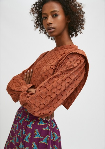 Brown broderie smock blouse...