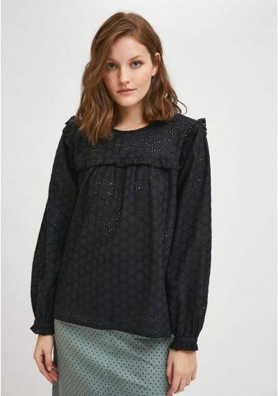 Black broderie smock blouse with ruffle detail -  Compañía Fantástica