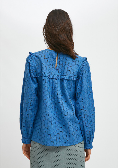 Blue broderie smock blouse with ruffled detail - Compañía Fantástica
