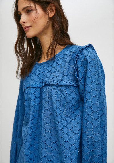 Blue broderie smock blouse...