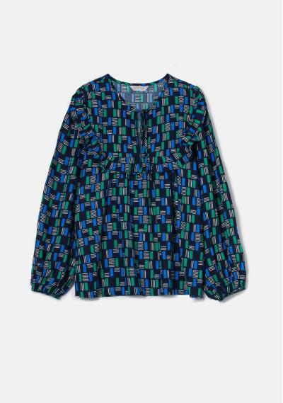 Geometric block print lightweight smock blouse -  Compañía Fantástica