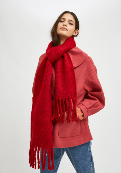 Red soft knitted scarf with...