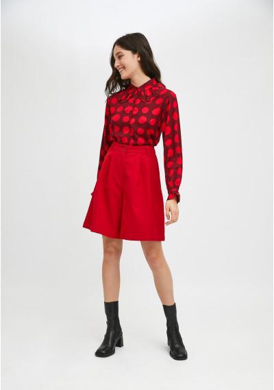Red polka dot print blouse with bib collar -  Compañía Fantástica