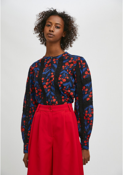 Floral poppy print long-sleeved blouse with lace detail -  Compañía Fantástica