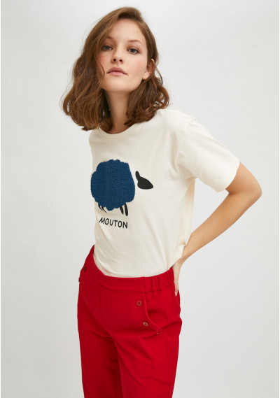 Sheep print short-sleeve...