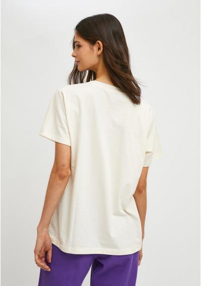 Geometric pasta print short-sleeve T-shirt -  Compañía Fantástica