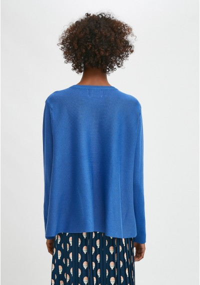 Blue flared-cut knit cardigan with ribbed round neck -  Compañía Fantástica