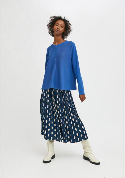 Blue flared-cut knit...