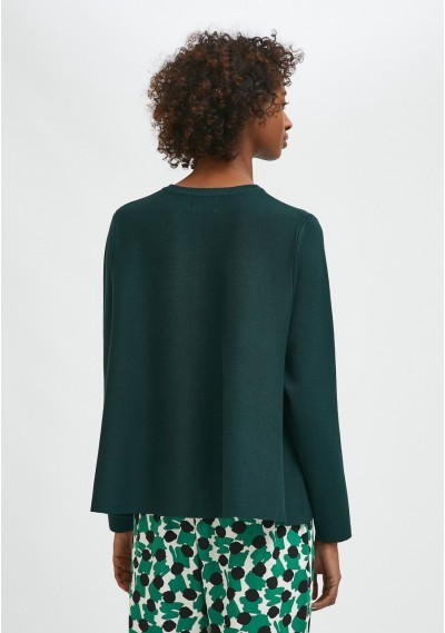 Green flared-cut knit cardigan with ribbed round neck -  Compañía Fantástica