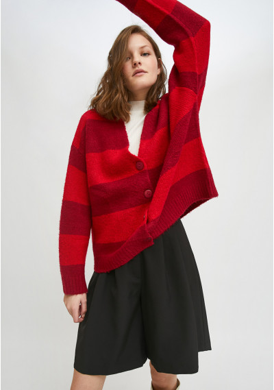 Red striped oversized knit...