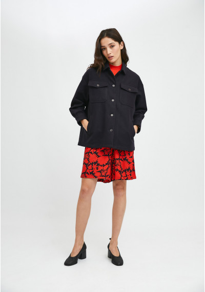 Navy overshirt jacket with dropped shoulders and pockets -  Compañía Fantástica