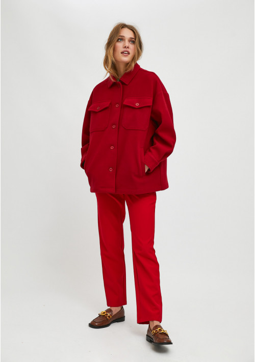 Red overshirt jacket with dropped shoulders and pockets - Compañía Fantástica