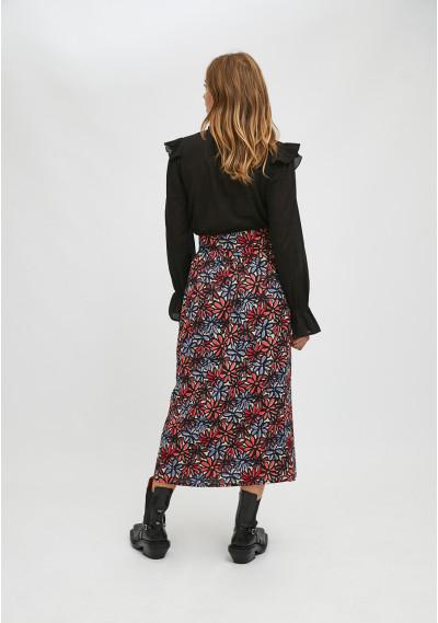 Floral daisy print midi skirt with front buttons -  Compañía Fantástica